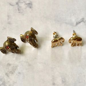 2 Pair Gold Elephant Earrings